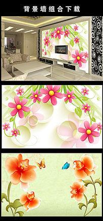 简洁大气电视背影墙花朵背景墙PSD分层图片设计下载