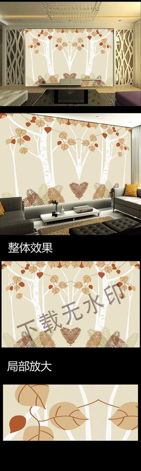 梦幻树林电视背景墙装饰画图片下载