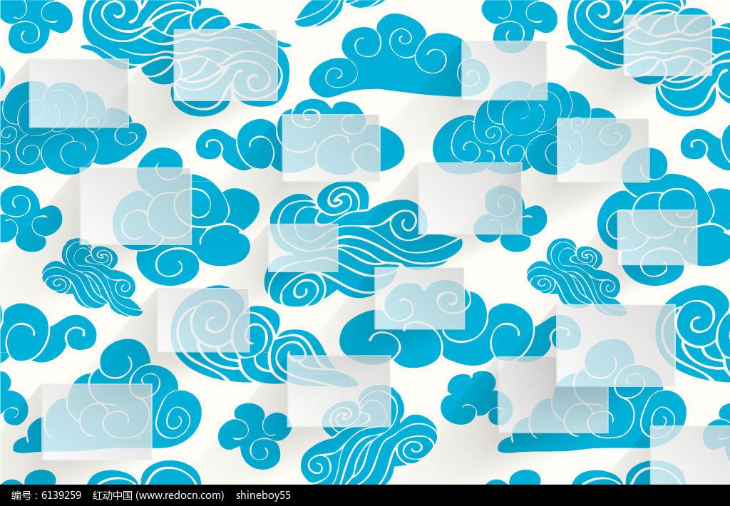 清新蓝色云朵花纹背景