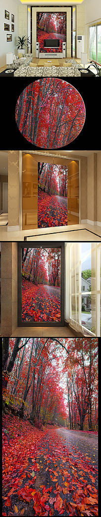 唯美红枫落叶玄关背景壁画