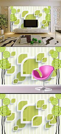 现代简约绿树3D立体电视背景墙