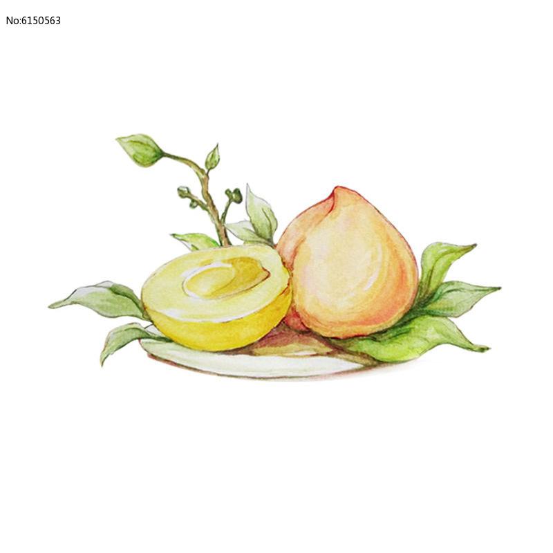 手绘水彩桃子图片
