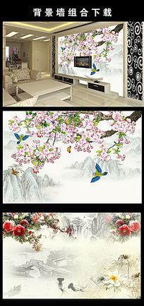 中国风花鸟电视背景墙图片设计下载