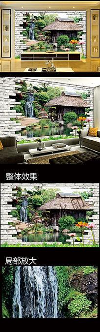 3D风景瀑布电视背景墙