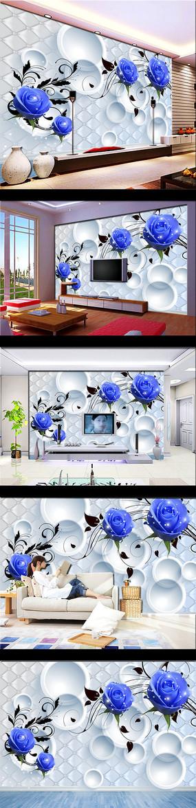 3D立体壁画蓝色玫瑰花背景墙