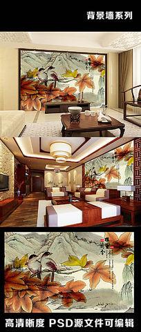 中国风水墨山水中式字画枫叶画眉电视背景墙
