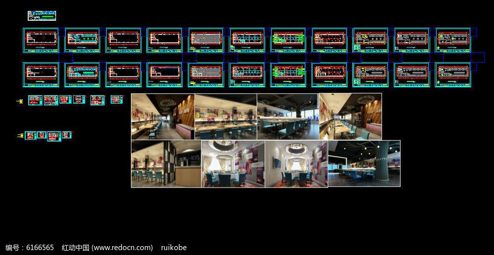 CAD室内全套装饰现代鱼缸咖啡厅图纸施工图工装cad风格图片
