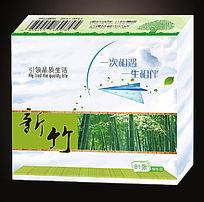 简约清新竹子食品盒标签包装