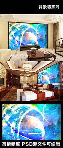 蓝色梦幻火焰星空宇宙陨石行星月球表面电视背景墙