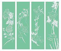 梅兰竹菊雕刻图