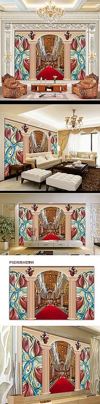 欧式风格礼堂电视背景墙