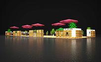 世欧王庄售楼部户外休息区项目3DMAX模型 max