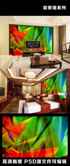 油画风格色彩叶脉艺术感电视背景墙