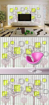 3D立体清新树林方框电视背景墙