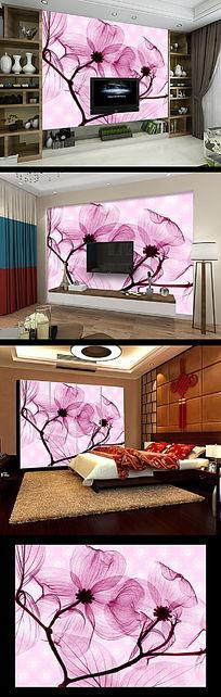 红色花纹花朵电视背景墙