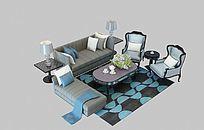 简欧沙发整体模型