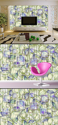 时尚花纹创意树叶电视背景墙装饰画
