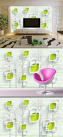 时尚简约3D抽象树电视背景墙