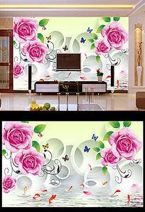 3D玫瑰花圆圈电视背景墙