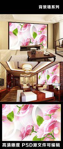 3d立体粉色牡丹自然花朵花瓣花纹民族风电视背景墙