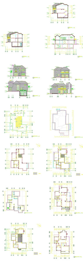 高层建筑立面图 国外建筑师手绘建筑立面图 中式建筑立面剖面 别墅