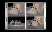 必酷贸易实体店形象墙收银台3dmax模型下载