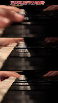 弹钢琴手部特写高清视频素材