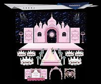 粉色加城堡造型主题婚礼舞美舞台背景