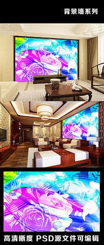 复古欧美花朵花卉牡丹国花色彩五线谱电视背景墙