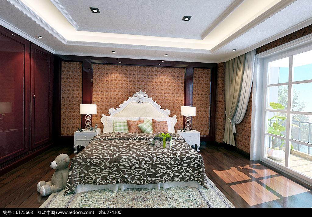 高端古典风格别墅主人房装修3d模型
