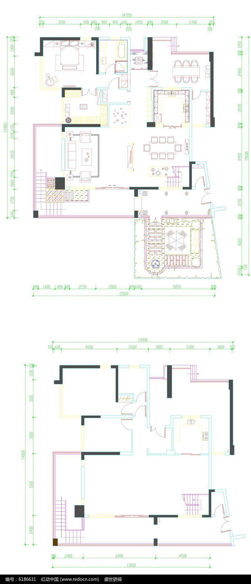 家居墙面尺寸平面dwg素材下载_室内装修设计cad图纸防水剖面图图片