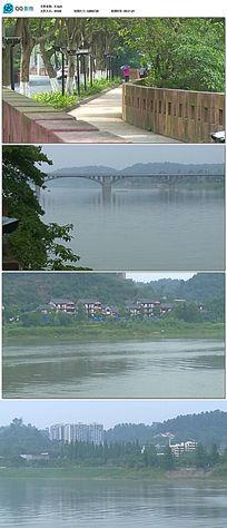 绿色小道桥梁大江水面宣传片空镜头素材
