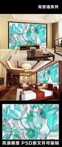 3d立体淡蓝色牡丹花朵花卉抽象手绘电视背景墙