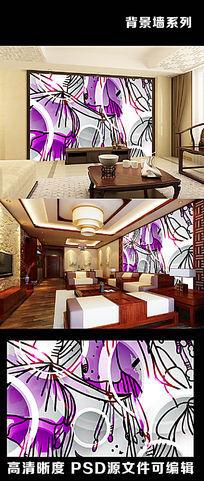 3d立体梦幻花朵花卉抽象手绘电视背景墙