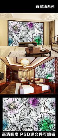 3d立体梦幻牡丹花朵花卉抽象手绘电视背景墙