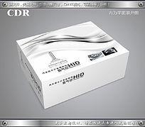 黑白简约线条汽车灯包装展开图cdr