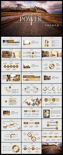 框架完整欧美风格的海外旅游ppt动态模板