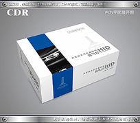 蓝色包边车灯包装彩盒设计源文件