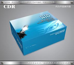 蓝色精品汽车氙气灯包装飞机盒设计cdr CDR