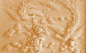 木雕牡丹凤凰富贵典雅木刻浮雕电视背景墙