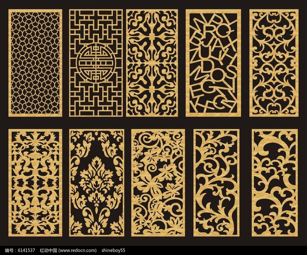 欧式花纹镂空雕花cdr素材下载_雕刻图案设计图片