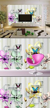 简约透明花卉立体电视背景墙装饰画