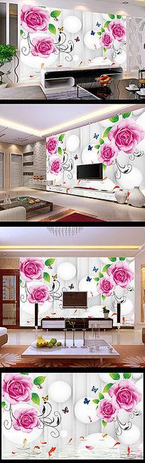 玫瑰花圆球背景墙装饰画