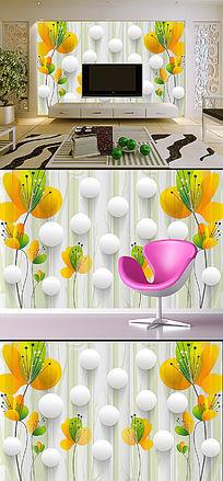 梦幻花卉3D立体电视背景墙