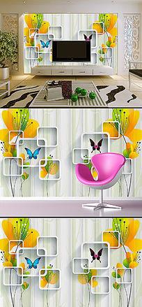 现代简约花卉立体背景墙装饰画
