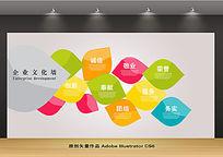 抽象彩色树叶企业文化墙设计