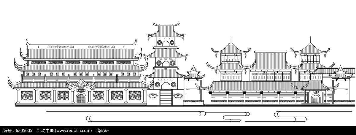 原创设计稿 卡通图片/插画 风景插画 古代房子