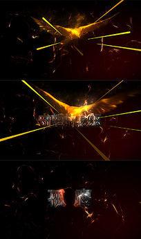 火花粒子闪电金色翅膀老鹰高清动画片头包装AE模板