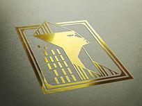 提案贴图金属金色标志展示logo效果图