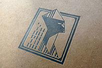 提案贴图牛皮纸黑色油墨标志展示logo效果图